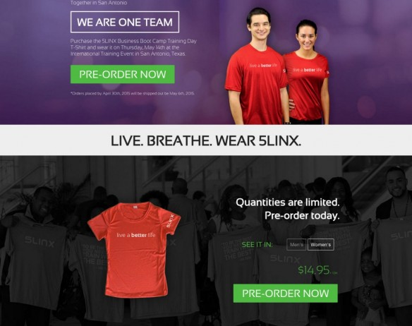 5LINX T-shirt Landing Page